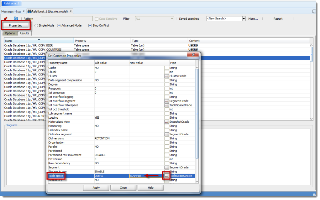 SQL Developer Data Modeler version 3.3 has a new and improved Search (and Replace!)