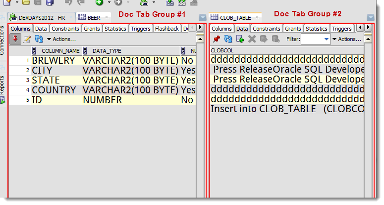 Tab Groups are shown concurrently in the SQL Developer desktop display