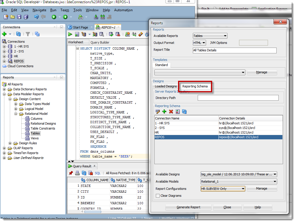 Run your data modeler reports from the reporting schema vs the loaded designs