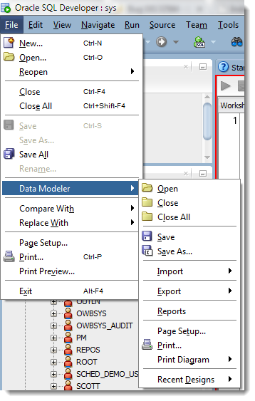 Access the Data Modeler 'File' menu stuff under the SQLDev File Menu...