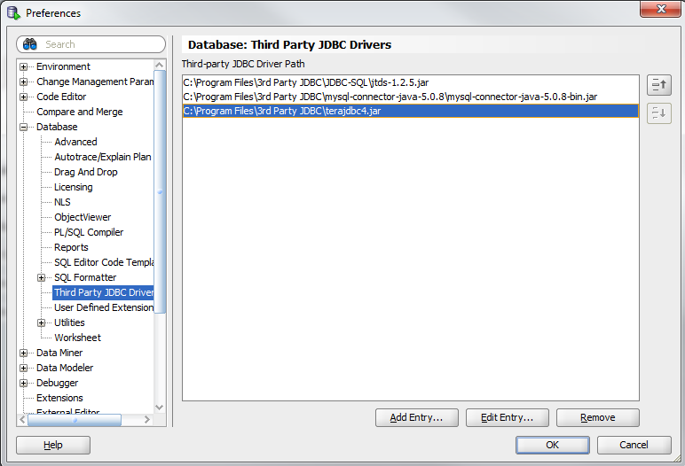 Registering 3rd party JDBC drivers in SQL Developer