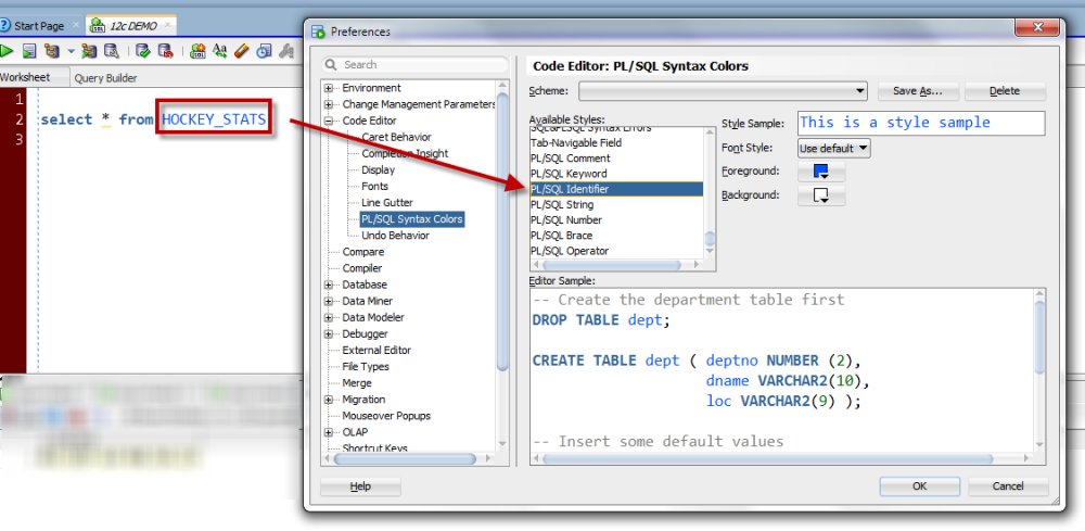 How SQL Developer colors all of the text in your editor is defined in the preferences.