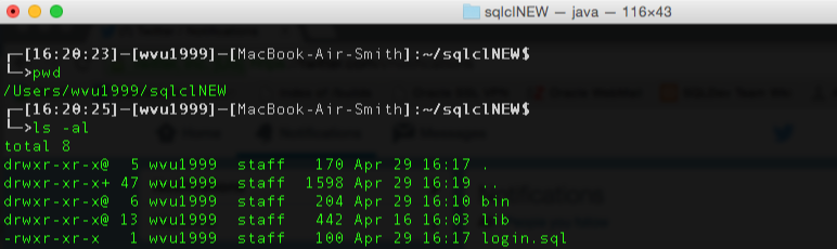 Here's where I'm at, directory-wise as I get set to launch SQLcl