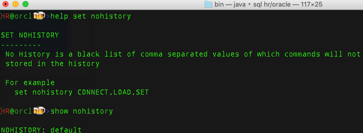 give us a comma delimited list of commands you don't want to go into your history