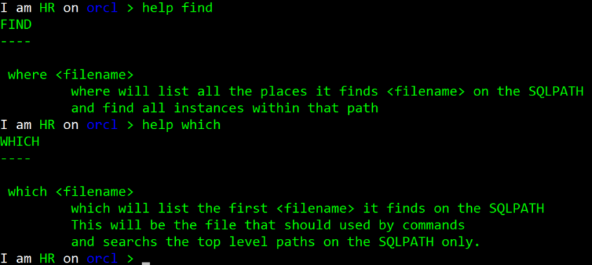Oracle SQLcl new commands, find and which