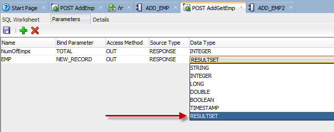 oracle rest data services module parameter resultset